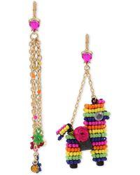 Betsey Johnson - Gold-tone Multicolor Pavé Flower & Beaded Piñata Mismatch Drop Earrings - Lyst