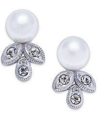 Danori - Silver-tone Imitation Pearl And Crystal Stud Earrings - Lyst