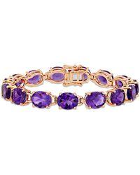 Macy's Amethyst (36 Ct. T.w.) Tennis Bracelet In 18k Rose Gold Over Sterling Silver - Purple