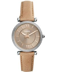 Fossil - Women's Carlie Sand Leather Strap Watch 35mm - Lyst