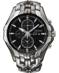 Seiko Men's Chronograph Solar Excelsior Two-tone Stainless Steel Bracelet Watch 43mm Ssc139 - Black