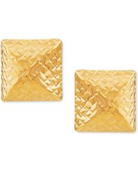 Macy's - Textured Pyramid Stud Earrings In 10k Gold - Lyst