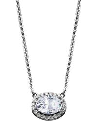 Macy's - Oval Halo Cubic Zirconia Necklace In Fine Silver Plate - Lyst