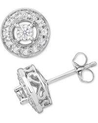 Macy's - Diamond Halo Stud Earrings (1/3 Ct. T.w.) In 10k Gold - Lyst