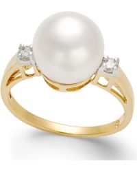 Macy's - Cultured Freshwater Pearl (10mm) And Diamond (1/8 Ct. T.w.) Ring In 14k Gold - Lyst