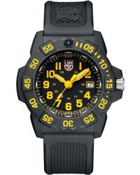 Luminox Navy Seal 3500 Black Carbon Yellow Accent Dial Strap Watch