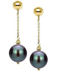 Macy's - Cultured Tahitian Pearl (8-10mm) Drop Earrings In 14k Gold - Lyst