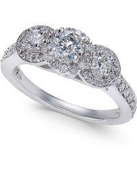 Macy's - Diamond Three-stone Engagement Ring (1 Ct. T.w.) In 14k White Gold - Lyst