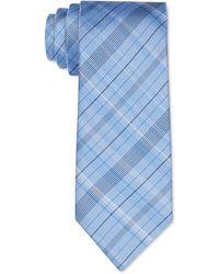 Calvin Klein Diffuse Shadow Plaid Slim Tie - Blue