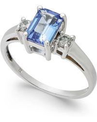 Macy's - Tanzanite (1 Ct. T.w.) & Diamond (1/6 Ct. T.w.) Ring In 14k White Gold - Lyst