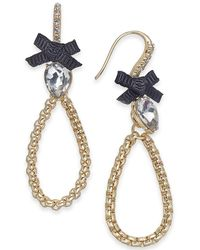 INC International Concepts - I.n.c. Gold-tone Crystal & Bow Open Drop Earrings, Created For Macy's - Lyst