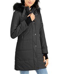 Maralyn & Me Juniors' Faux-fur Trim Hooded Puffer Coat - Multicolor