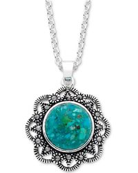 "Macy's - Marcasite & Manufactured Turquoise Filigree 18"" Pendant Necklace In Fine Silver-plate - Lyst"
