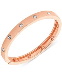 Guess - Rose Gold-tone Hinge Bracelet With Clear Stones - Lyst