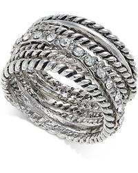 INC International Concepts - Silver-tone Textured Pavé Statement Ring - Lyst