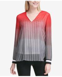 Calvin Klein - Printed V-neck Top - Lyst