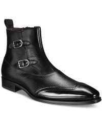 Mezlan - Double-buckle Wingtip Side-zipper Boots - Lyst