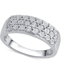 Macy's - Diamond Three-row Band (1/8 Ct. T.w.) In Sterling Silver - Lyst