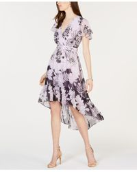 Vince Camuto - Flutter-sleeve High-low Midi Dress - Lyst