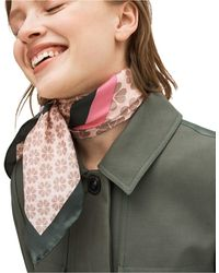 Kate Spade Flower Stripe Silk Square Scarf - Pink