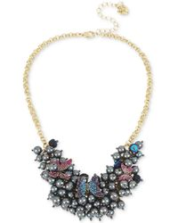 """Betsey Johnson - Gold-tone Imitation Pearl And Pavé Butterfly Statement Necklace, 16"""" + 3"""" Extender - Lyst"""