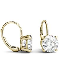 Charles & Colvard - Moissanite Leverback Earrings (3 Ct. T.w. Diamond Equivalent) In 14k White Or Yellow Gold - Lyst