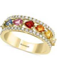 Effy Collection Effy® Multi-sapphire (1-5/8 Ct. T.w.) & Diamond (1/3 Ct. T.w.) Band In 14k Gold - Metallic