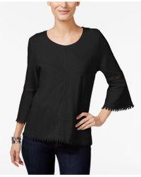 Style & Co. Crochet-trim Bell-sleeve Top - Black