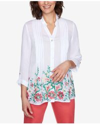 Ruby Rd. Misses Woven Silky Gauze Top - White
