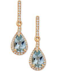 Macy's - Aquamarine (1-1/3 Ct. T.w.) & Diamond (1/5 Ct. T.w.) Drop Earrings In 10k Gold - Lyst