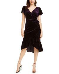 Lucy Paris Veronica Velvet Wrap Dress - Black