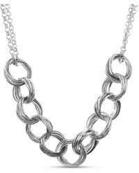 Kensie Silver-tone Interlocking Circle Necklace - Metallic