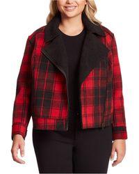 Jessica Simpson Plus Size Fleetwood Sherpa Moto Jacket - Red