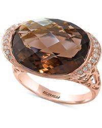 Effy Collection - Sienna By Effy® Smoky Quartz (11-9/10 Ct. T.w.) & Diamond (1/10 Ct. T.w.) Ring In 14k Rose Gold - Lyst
