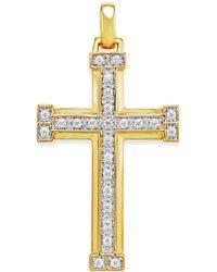 Macy's - Men's Diamond Cross Pendant (3/8 Ct. T.w.) In 10k Gold - Lyst