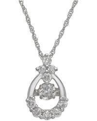 Twinkling Diamond Star - Diamond Open Teardrop Pendant Necklace In 14k White Gold (3/8 Ct. T.w.) - Lyst