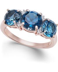 Macy's - London Blue Topaz (3-3/4 Ct. T.w.) & Diamond Accent Ring In 14k Rose Gold - Lyst