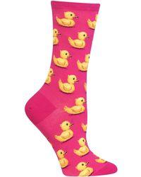 Hot Sox Rubber Ducks Socks - Pink