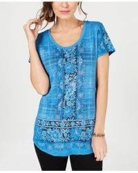 Style & Co. - Petite Printed T-shirt, Created For Macy's - Lyst