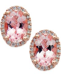Macy's - Morganite (1-1/3 Ct. T.w.) And Diamond (1/8 Ct. T.w.) Stud Earrings In 14k Rose Gold - Lyst