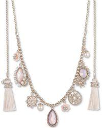 "Marchesa - Gold-tone Imitation Pearl, Stone & Pavé Tassel 44"" Wrap Necklace - Lyst"