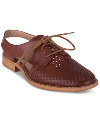 Wanted Koi Perforated Oxford Flats - Brown