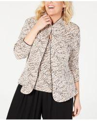 Alex Evenings Plus Size Printed Mandarin Jacket & Top Set - Natural