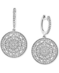 Effy Effy® Diamond Cluster Disc Drop Earrings (5/8 Ct. T.w.) In 14k White Gold - Metallic