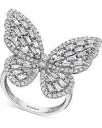 Effy Collection Effy® Diamond Butterfly Statement Ring (1-3/8 Ct. T.w.) In 14k White Gold - Metallic