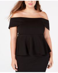 Soprano - Trendy Plus Size Off-the-shoulder Peplum Top - Lyst