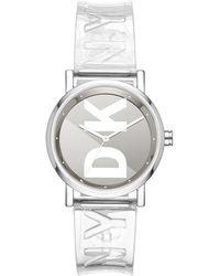 DKNY - Soho Clear Polyurethane Strap Watch 34mm - Lyst