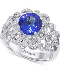 Effy Collection - Tanzanite (1-9/10 Ct. T.w.) And Diamond (1/2 Ct. T.w.) Ring In 14k White Gold - Lyst
