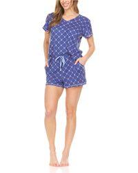 BEARPAW Logo Print Jersey Short Sleeve V-neck T-shirt And Shorts, Pajama Lounge Comfy Sleepwear Set, 2 Piece - Blue