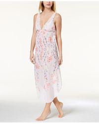 Linea Donatella - Deandra Lace-trim Floral-print Nightgown - Lyst